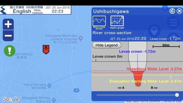国交省「川の防災情報」英語モバイル版(2018年6月20日) - 8:静岡県の河川でアラート(牛渕川)