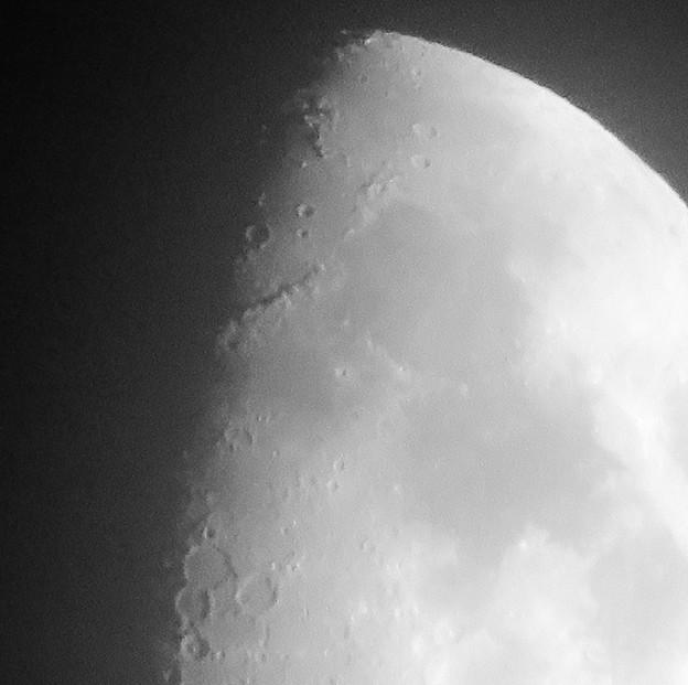 SX730 HSで撮影した半月(修正済み、モノクロ) - 7