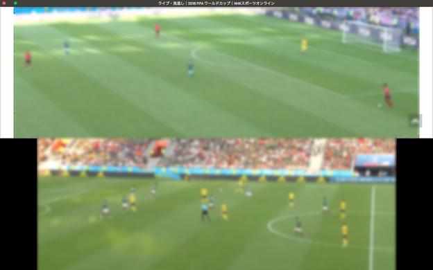 Vivaldi:タブタイリングで2つのワールドカップ動画を同時視聴! - 6(上下表示、UI非表示)