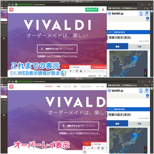 写真: Vivaldi 1.16.1226.3:パネルのオーバーレイ表示が可能に! - 4(表示設定比較)