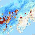 写真: 国交省「川の防災情報」英語モバイル版で見た西日本の大雨(2018年7月6日)- 6(22時23分時点)