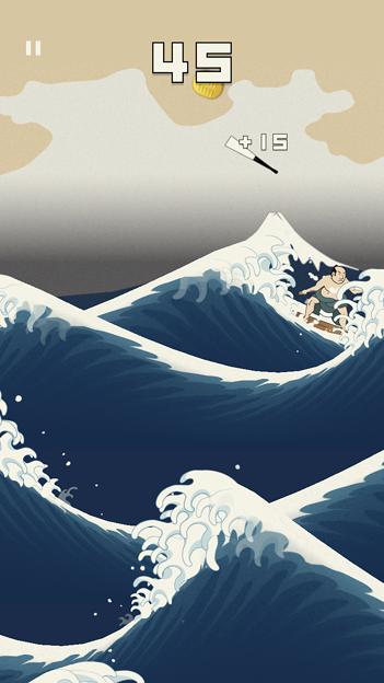 浮世絵風のイラストのサーフィン?ゲーム「うきよウェーブ」- 9
