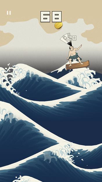 浮世絵風のイラストのサーフィン?ゲーム「うきよウェーブ」- 10