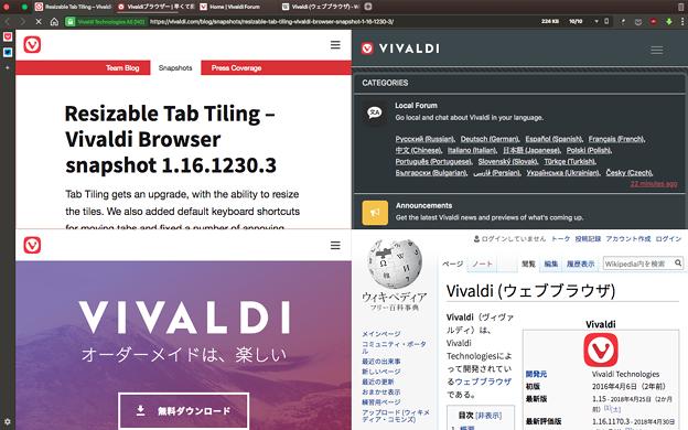 Vivaldi 1.16.1230.3:グリッド表示でも表示幅を変更可能に! - 1(変更前)