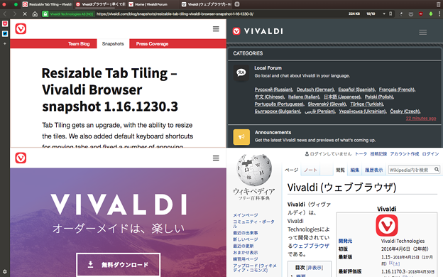 Photos: Vivaldi 1.16.1230.3:グリッド表示でも表示幅を変更可能に! - 1(変更前)