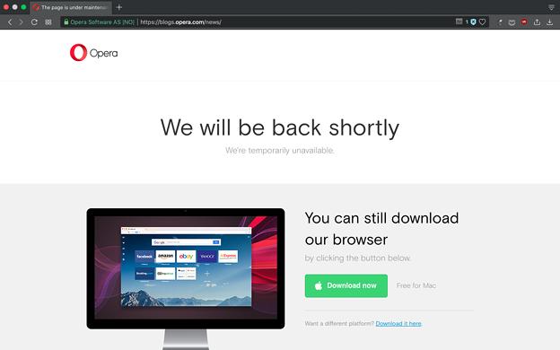 写真: Opera公式ブログにアクセスしたら「We will be back shortly」! - 1