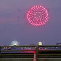 潮見埠頭に架かる橋の上から見た名古屋みなと祭の花火 - 1