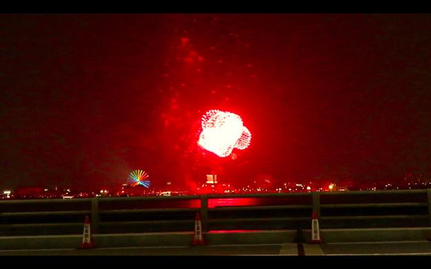 潮見埠頭に架かる橋の上から見た名古屋みなと祭の花火 - 49