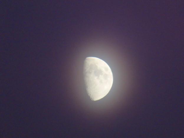 夕暮れ時、薄っすら七色に輝いて見えた半月