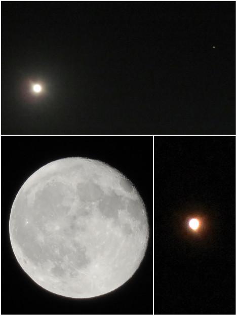 満月と最接近直前の火星(2018年7月29日)- 2