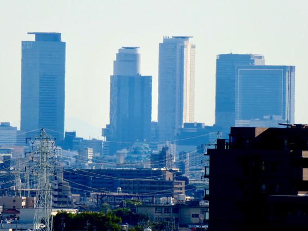 落合公園 水の塔から見た景色 - 20:名駅ビル群と名古屋城