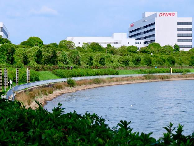 Photos: 愛知池 No - 5:池沿いにあるDENSOの工場