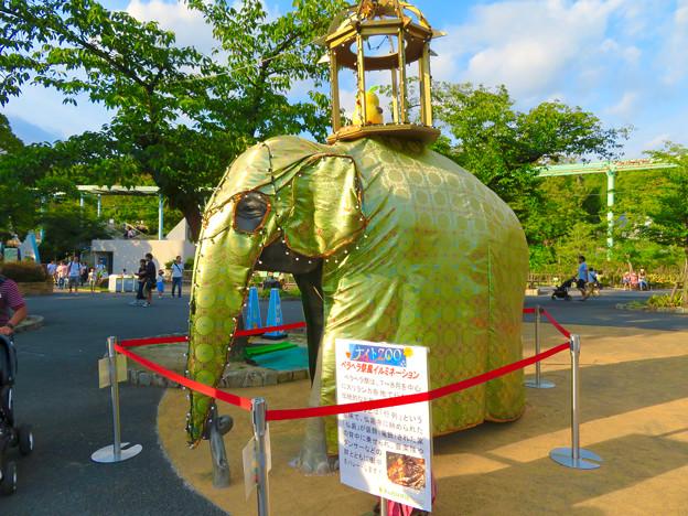 東山動植物園ナイトZoo 2018 No - 6:スリランカのお祭り「ペラヘラ祭」風の装飾がなされてたゾージアム前の象の像