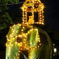Photos: 東山動植物園ナイトZoo 2018 No - 59:「ペラヘラ祭」風の装飾がなされてた象の像の上にズーボ