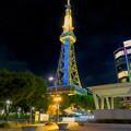 青く輝く名古屋テレビ塔のイルミネーション