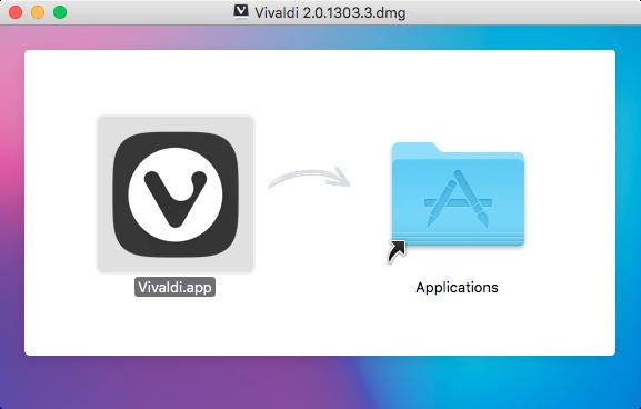 Vivaldi 2.0.1303.3のアプリケーションフォルダへのコピー画面がカラフルでちょっと綺麗♪