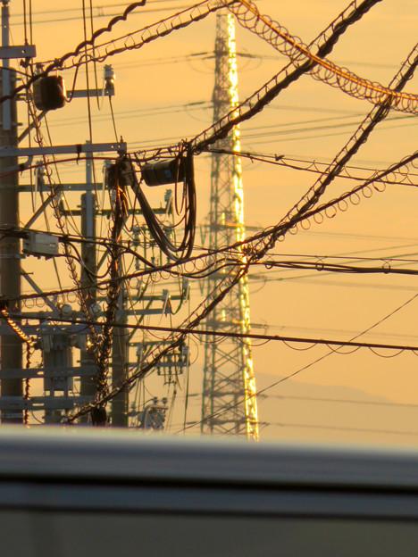 一瞬瀬戸デジタルタワーかと思った、夕焼けで輝く鉄塔 - 2