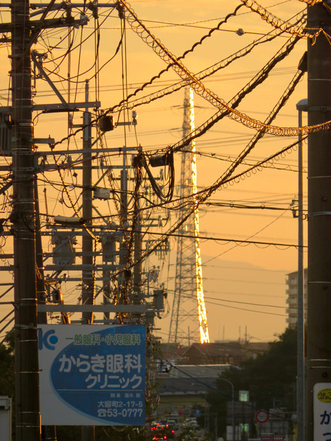 一瞬瀬戸デジタルタワーかと思った、夕焼けで輝く鉄塔 - 3