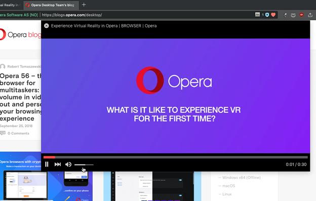 Opera 56:ビデオポップアウトで音量調節可能に!