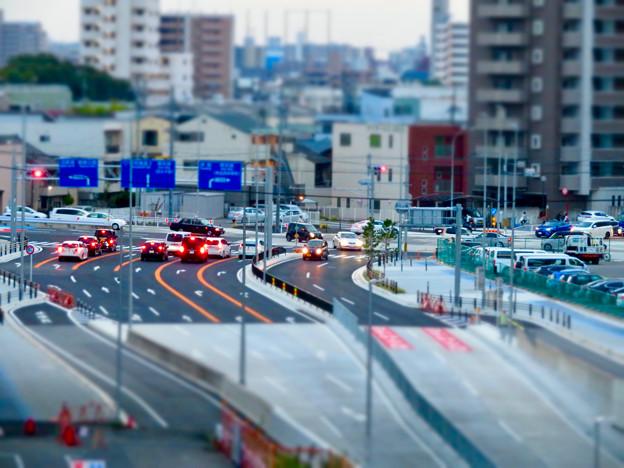 SX730 HS ミニチュアライズ:ささしま米野歩道橋から撮影した交差点 - 1