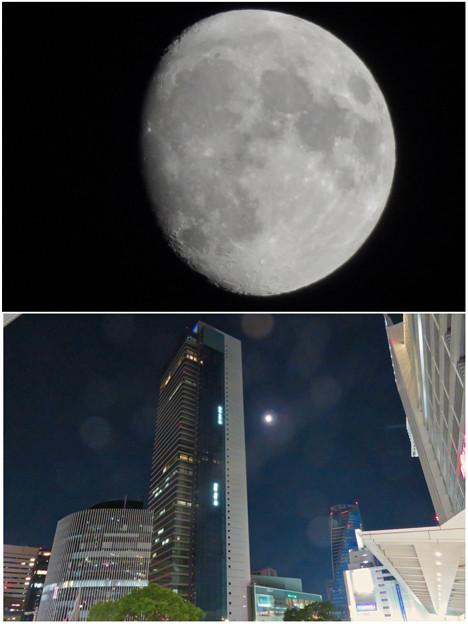 ミッドランドスクエアの横で輝いてた月(2018年10月21日)- 3