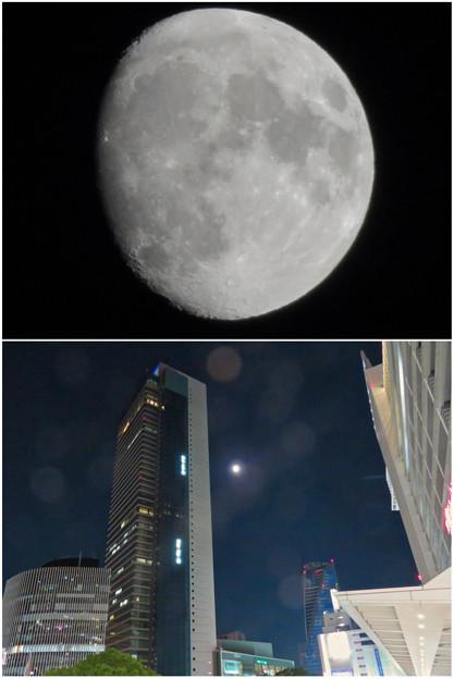 ミッドランドスクエアの横で輝いてた月(2018年10月21日)- 4