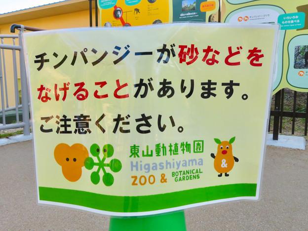 東山動植物園:新ゴリラ・チンパンジー舎 - 49(チンパンジー舎の注意書き)