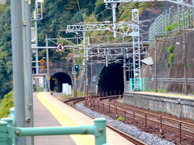 定光寺駅ホームとトンネル