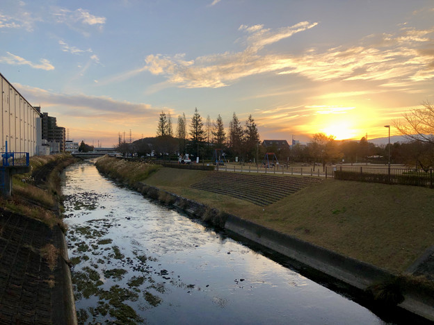 合瀬川沿いから見た夕焼け - 1