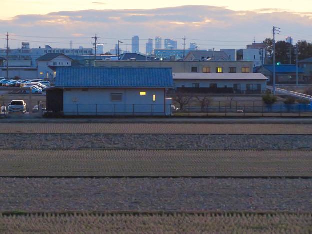 夕暮れ時の大池沿いから見た名駅ビル群 - 6