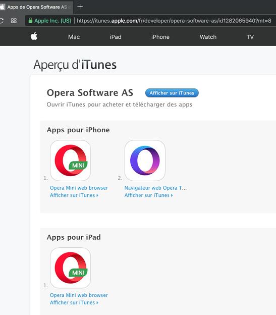 iOS版Opera Mini、一部の国ではいまも配信中! - 3:フランスのApp Store
