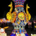 Photos: 名古屋中国春節祭 2019(夜間)No - 5:クジャクをモチーフにした巨大な壺?とウサギ