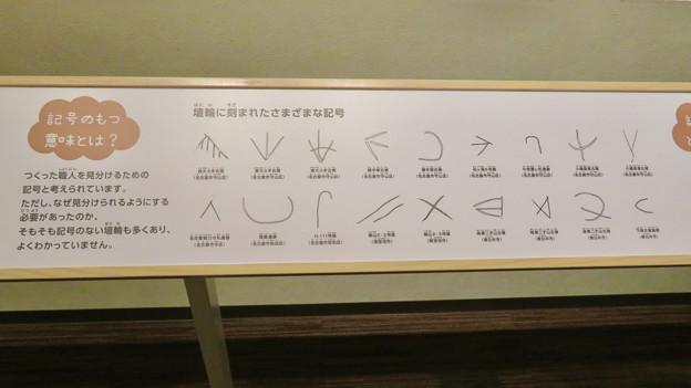 しだみ古墳群ミュージアム「SHIDAMU(しだみゅー)」展示室 No- 51:埴輪に刻まれた様々な記号の解説