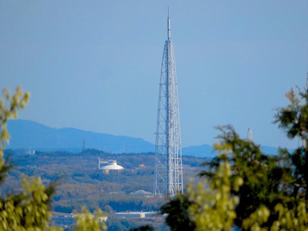 尾張戸神社の展望デッキから見た瀬戸方面の景色 - 3:瀬戸デジタルタワーや愛・地球博記念公園の建物