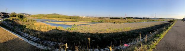 天王山古墳前の庄内川パノラマ