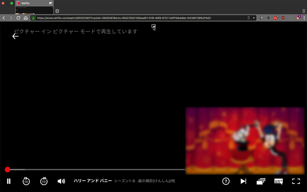 Vivaldi 2.5.1511.4:UserScript「Easy Picture-in-Picture」でビデオポップアップ - 3(Netflix)