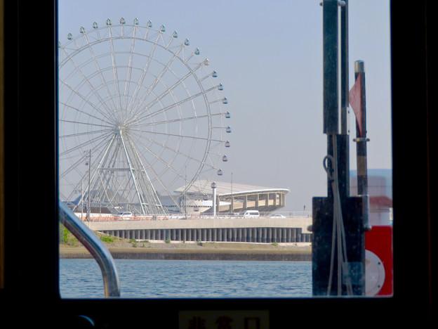 クルーズ名古屋(2019年5月)No - 130:中川口通船門から見たシートレイランドの観覧車と名古屋港水族館