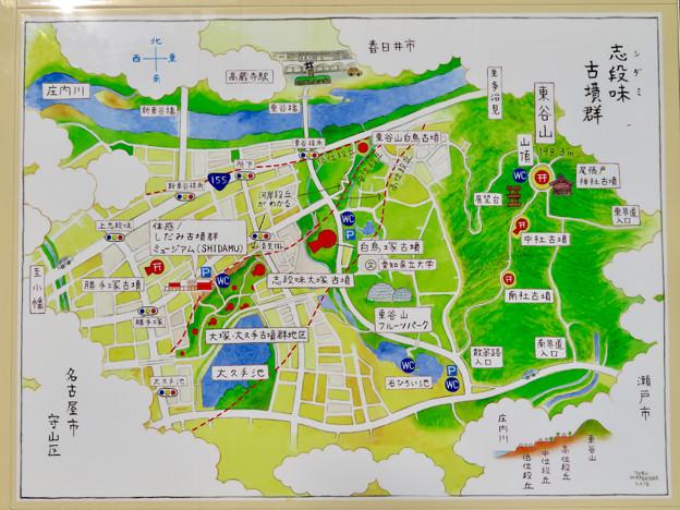 志段味古墳群 白鳥塚古墳 No - 10:古墳前の駐車場の地図