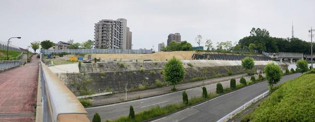 桃花台線の桃花台中央公園南側撤去工事(2019年6月23日) - 1:パノラマ