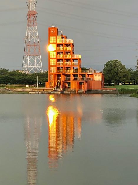 夕日が当たっていた落合公園 水の塔 - 1