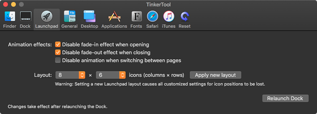 TinkerTool 7.0:MojaveのLaunchPadのアイコン表示数が変更可能! - 1