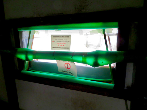 天守保蔵工事中の犬山城(2019年8月18日) - 9:封鎖された窓(天守内部から撮影)
