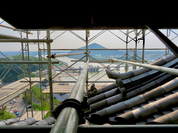 天守保蔵工事中の犬山城(2019年8月18日) - 12:窓から見た足場