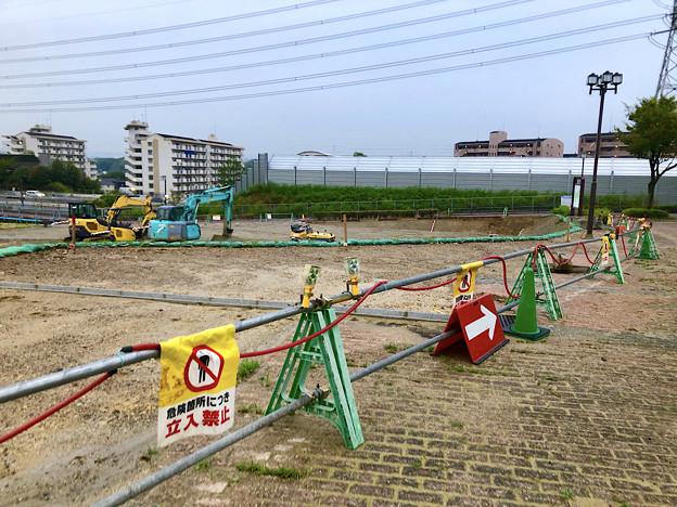 桃花台線の桃花台中央公園撤去工事(2019年8月23日):工事部分のフェンスが大部分撤去 - 6