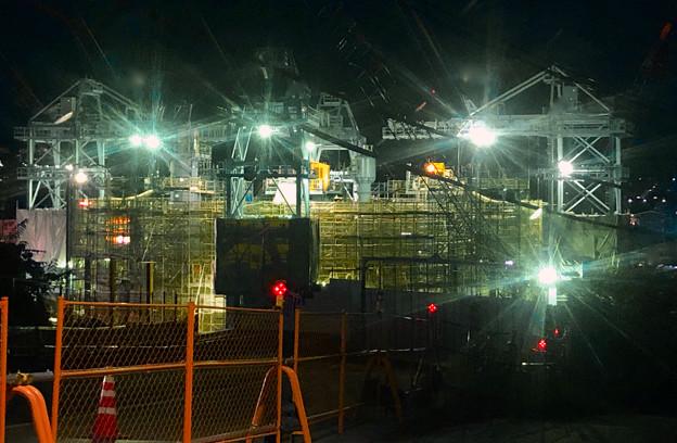 国道19号沿いから見た夜のリニア関連工事現場 - 2