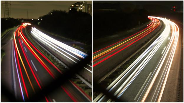 中央道を走る車の光跡(SX730HSで撮影、8秒、F4.5、ISO 80)- 5