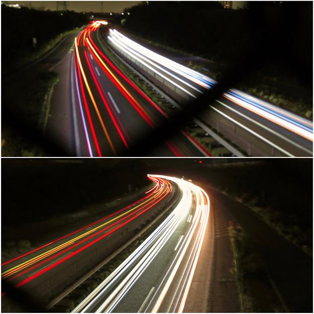 中央道を走る車の光跡(SX730HSで撮影、8秒、F4.5、ISO 80)- 6