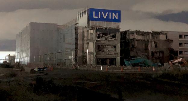 解体工事中の旧・ザ・モール春日井(2019年10月8日):ステンドグラスの東側部分が撤去 - 1