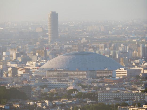 東山スカイタワーから見た景色(2019年10月)No - 3:絵になるナゴヤドームとザ・シーン城北