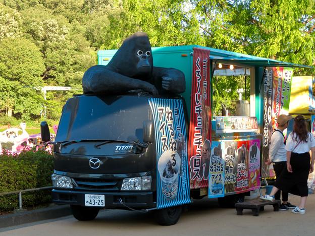 東山動植物園:ゴリラ推しのキッチンカー - 1(奇妙なゴリラ像)